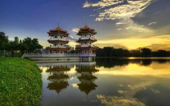 китаянка, озеро, пагоды, отражение, garden, пагода, дек, берег, всех,