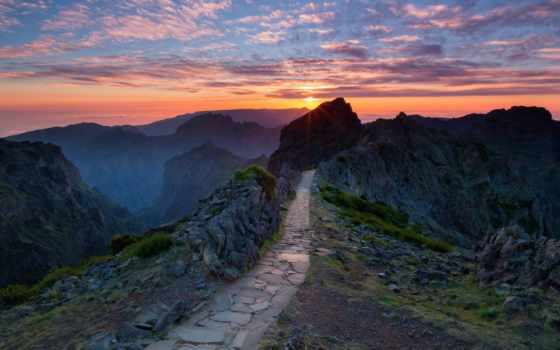 португалия, закат, горах, тропинка, розовый,