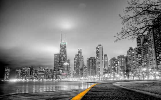 белое, город, чёрно, park, белые, мост, ночь, города, трек,