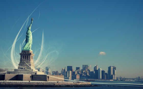 liberty, статуя, new, york, свободы, нью,