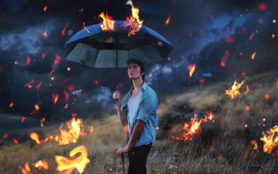 огонь, portrait, дождь, photographie, surreal, pin, art, selfportrait, lilian, wong, conceptual