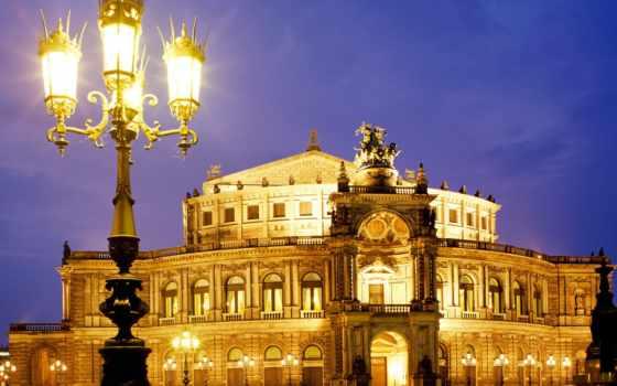 dresden, германия, ночь, фонари, оперный, театр, свет, язык, город,