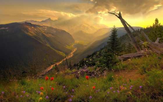 naturaleza, belleza, que, montañas, nubes, mountains, con,
