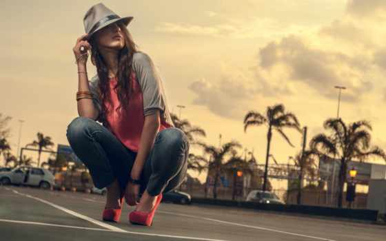 девушка, шляпа, взгляд, вечер, devushki, rewalls, girls, нравится, шатенка, ella, парковка,