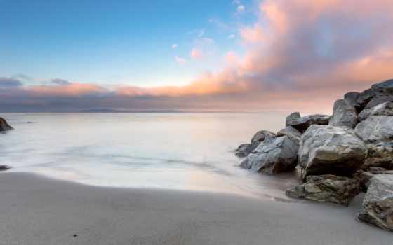 море, камни, берег, небо, спокойствие, browse, закат, oblaka, страница,