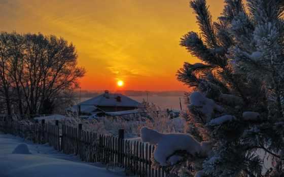 hiver, soleil, neige, coucher, top, paysages, beaux, des, plus, sports,