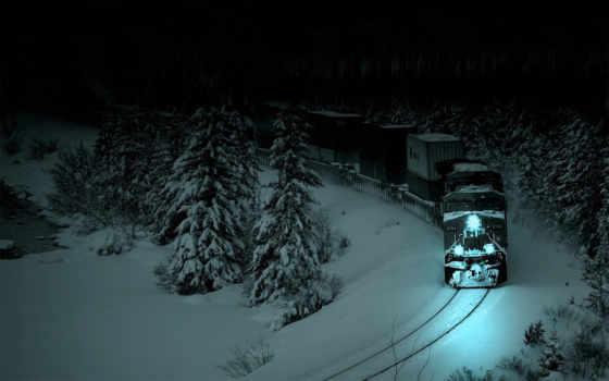 лес, поезд, сквозь, едет, снег, сша, ночь,