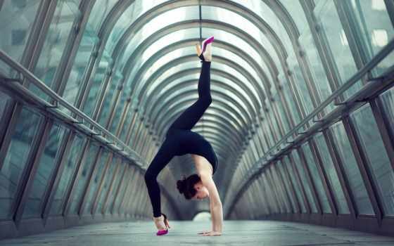 гимнастка, девушка, поза, rack, быстро,