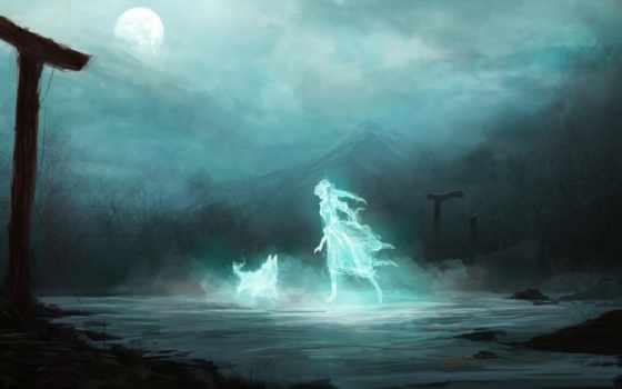 девушка, волк, art, дух, луна, гора, ночь, арки, фантастика, ghost,