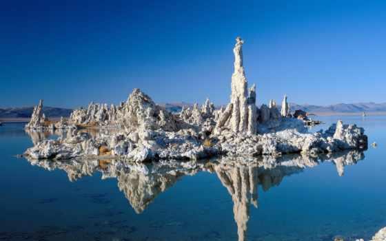 панорамные, небо, озеро, просмотров, отражение,