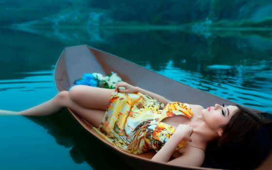 девушка, лодка, янв