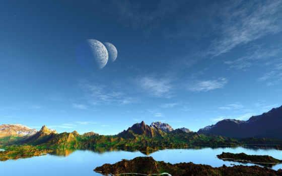 озеро, небо, art, планеты, landscape, вид, горы,