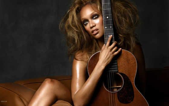 девушка, гитарой, гитара