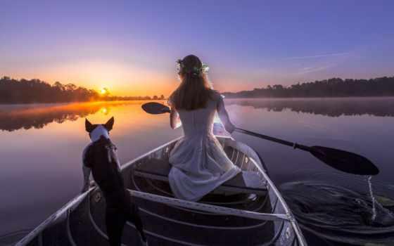 девушка, лодке, лодка, река, собакой, закат, собака, вечер, весло, devushki,