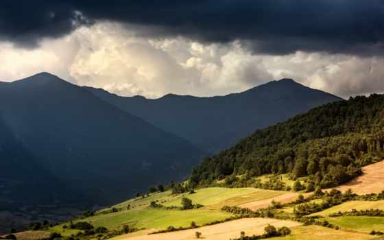 clouds, mountains, sunshine, буря, trees, oblaka, долина, per, ecco,