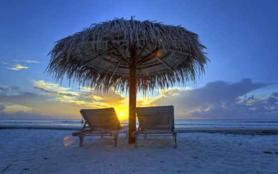 закат, maldives, море, clouds, небо, sun, зонтик, вечер, лежак,