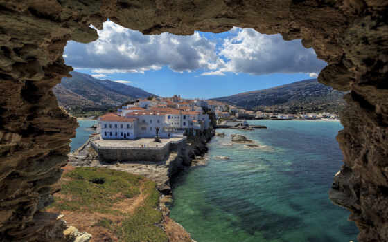 greece, andros, остров, архипелаг, resort, расположить, пляжный, starve