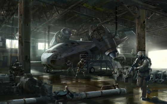 fantasy, военные, картинка, art, оружие, sci, ангар, об, широкоформатные,