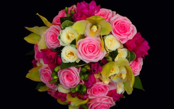 yellow, flowers, букет, роза, цветы, roses, розовый,