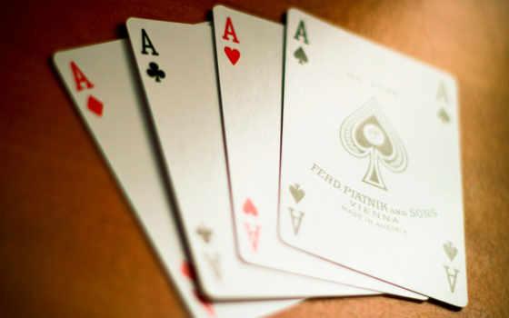 , карты, тузы, игра,