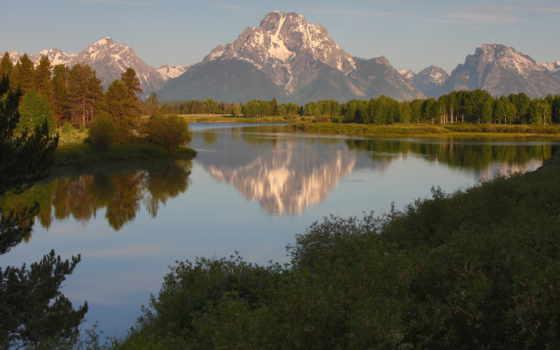 trees, красавица, река, mountains, природа, озеро, teton, гора, небо,