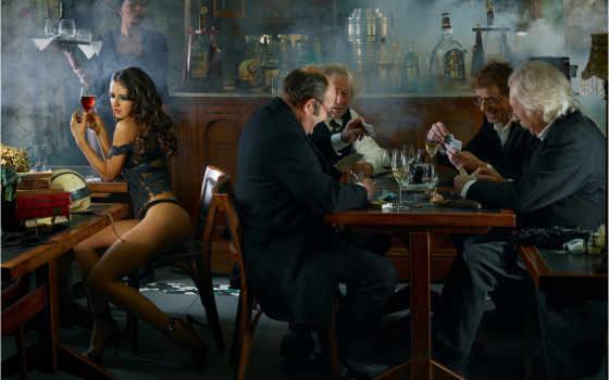 играют, карты, мужчины, сидит, девушка, за, одиночестве, valduc, chess, столиком, waitress,