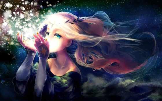 anime, ноутбук, планшетный, desktop, волосы, девушка, блонд,