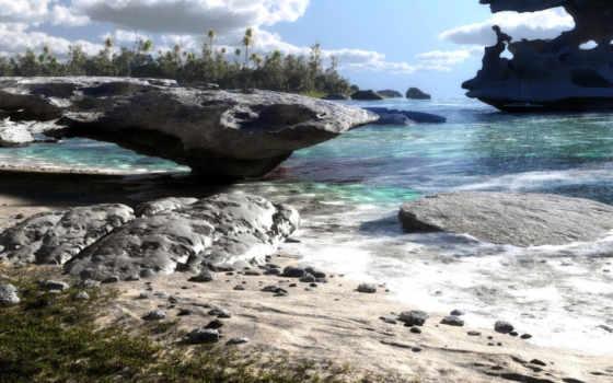 природа, камни, море, озеро, скалы, пейзаж, яхта, песок,