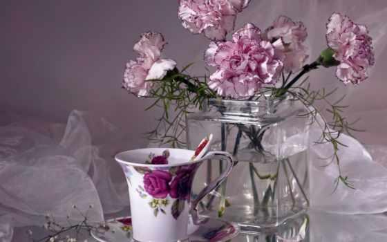 еще, натюрморты, purple, сиреневый, гвоздики, igor, блюдце, левашов, cup, высоком,
