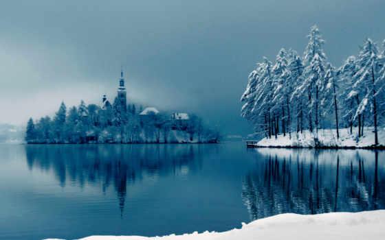 winter, озеро, остров