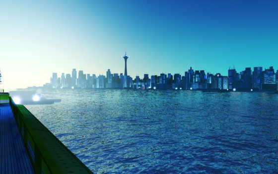 skyline, город, blue