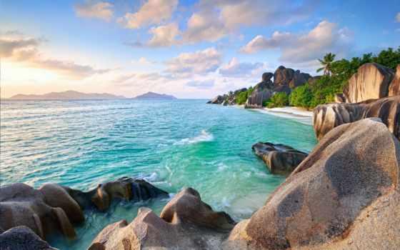 природа, небо, широкоформатные, остров, пальмы,
