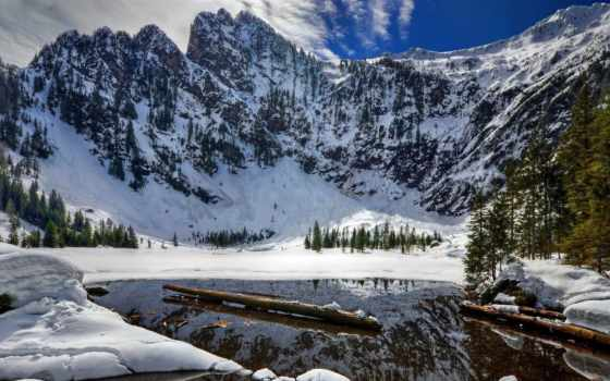 горы, landscape, качества, озеро, высокого, пейзажи -, яркие, местности, горной, река, снег,