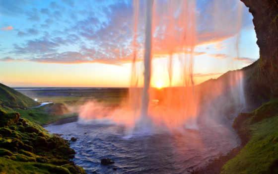 водопад, iceland, пещера, seljalandsfoss, селйяландсфосс, водопады,