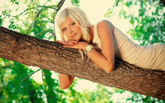 блонд, девушка, дерево, листья, природа, preview, watch,