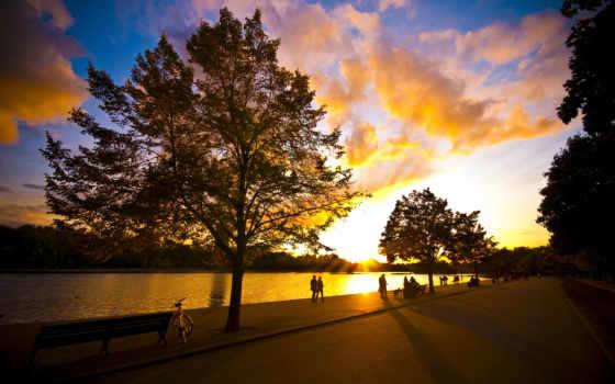 вечер, парке, прогулка, park, люди, bike, хорошая, небо, погода, trees, sun,