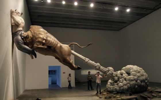 люди, bull, статуя, большой, пердёж, широкоформатные, bunch, разгон,