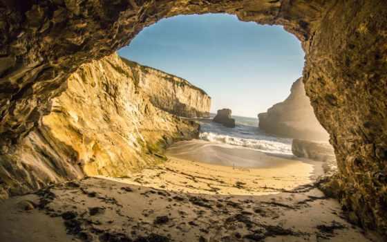 скалы, море, песок, камни, природа, rock, пещера, побережье, грот, моря, zoom,