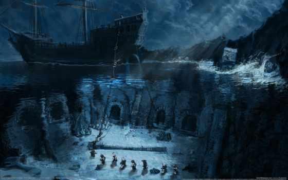 пираты, моря, карибского, корабль, черная, море, борода, череп, корабли,