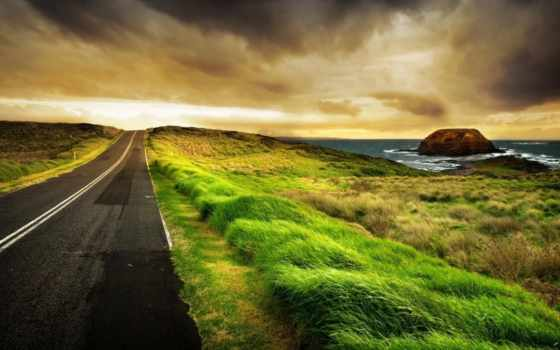 пейзажи -, скалы, море, камни, rock, water, дорога, камень, ocean, природа, трава,