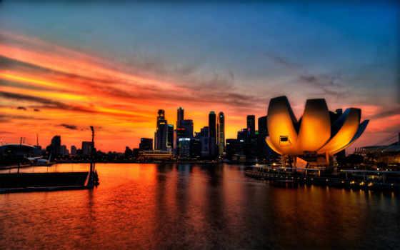 закат, singapore, красивый, коллекция