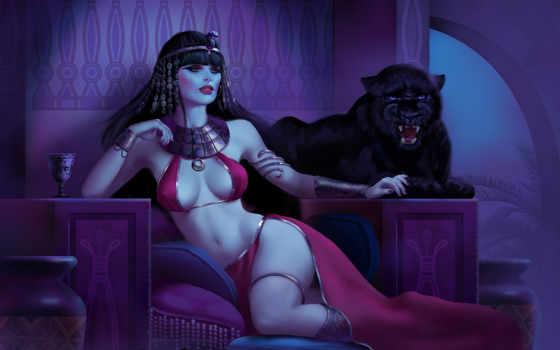 пантера, девушка, арт