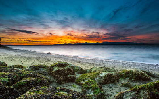 закат, море, пляж Фон № 48853 разрешение 1920x1080