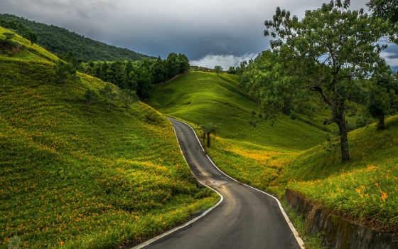 дорога, winding, long