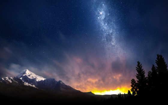 небо, горы, швейцария, альпы, ночное, звезды, космос, природа, ночь,