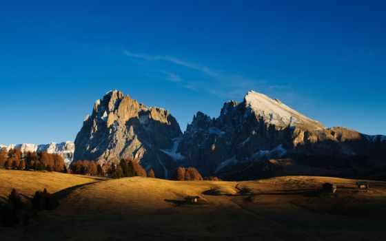горах, рассвет, lodge, горы, trees, небо, снег, kobmer,
