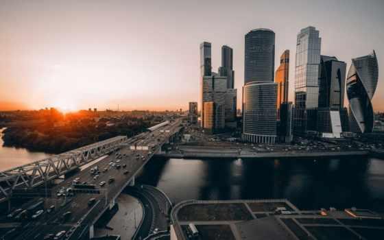 москва, город, небоскребы, russian, complex, центр, ночь, закате, взгляд,