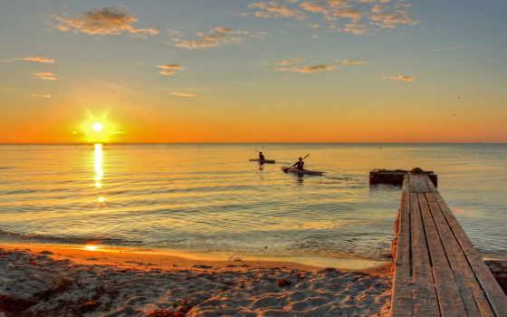 закат, море, лодки, высоком, со, качестве, морем, моря,