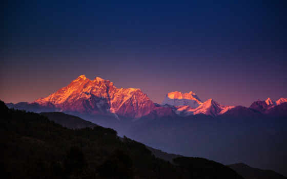 гималаи, nepal, горы, широкоформатные, небо, гора, синее, вечер,
