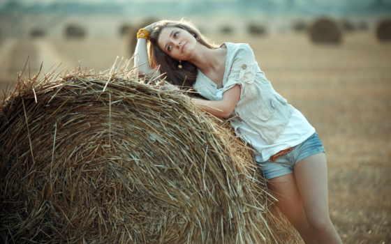девушка, модель, сена, мечты, женский,